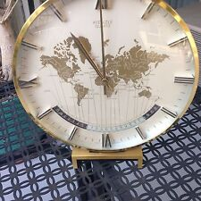 "MID CENTURY KIENZLE GERMAN WORLD TIME DESK CLOCK BRASS 10"""