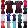 Ladies Plus Size Short Lace Sleeve Flower Lined Stretch T-Shirt Tunic Party Top