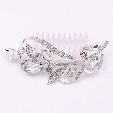 Diamante Crystal Rhinestone Leaf Head Hair Comb Wedding Bride Prom Jewelry UK