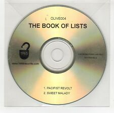 (GG812) The Book of Lists, Pacifist Revolt / Sweet Malady - DJ CD