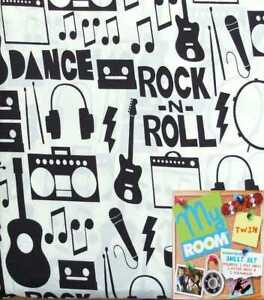 ROCK AND ROLL DANCE PARTY CREAM COMFORTER SHEETS PILLOWSHAM 5PC BEDDING SET NEW