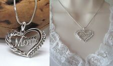 New Crystal MOM Open Heart Premier White Gold Plated Pendant Necklace US SELLER