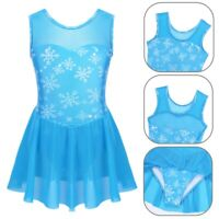 Kid Girl Ballerina Mesh Splice Snowflake Ballet Dance Leotard Tutu Dress Costume