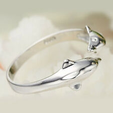 Women Double Dolphin 925 Silver Plated Rings Finger Band Adjustable Ring Jewelry