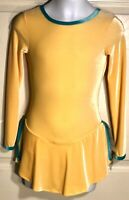 GK YELLOW VELVET CHILD LARGE JADE TRIM JEWEL NECK V-BACK FIGURE SKATE DRESS CL