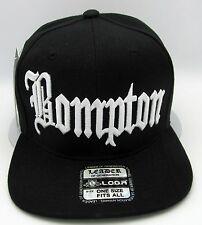 BOMPTON Snapback Cap Hat Compton Rap Hip Hop Flat Bill Caps Hats Black NWT
