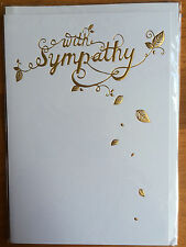 Sympathy Card With Sympathy Condolence Bereavement, Mourning, Loss. Leaf WHITE