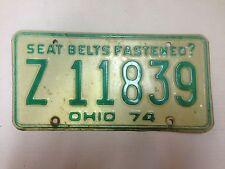 1974 Ohio License Plate - Z 11839 -