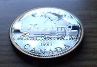 SILVER PROOF GEM 1981 CANADA SILVER DOLLAR, RailRoad Silver Dollar w NEW HOLDER