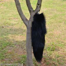 Large Black Natural Genuine Fox Tail Fur Tassel Bag Tag Accessory Charm keyring