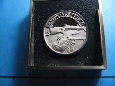 OLYMPIC FREE RIFLE REMINGTON GUN NRA 999 SILVER COIN SHARP RARE CASE COOL #K