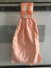 Handmade Kitchen Terry Cloth Hand Towel with Quilted Velcro Loop Peach Orange