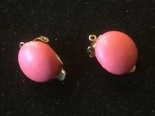 """Vintage Clip-On Earrings.  Hot Pink Dots.  Plastic.  .5"""" D. Box 2"""