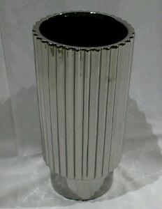 Silver CHROME shiny zigzag vase RRP$179.95 modern home decor ornament