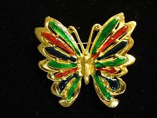 Vintage Vibrant Colorful Red Green Blue Enamel Butterfly Insect Brooch Pin
