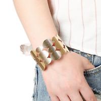 Women's Hollow Punk Gold Elliptical Stripe Wide Bangle Open Cuff Charm Bracelet