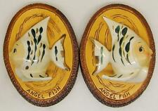 TWO VINTAGE CERAMIC ANGEL FISH PLAQUES~WALL HANGINGS~RELCO~HAND DECORATED~JAPAN