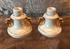 Vintage Ceramic Art Deco Styled Candle Sticks Mother of Pearl Gold 22K