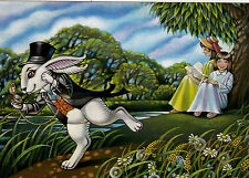 VERY RARE Alice in Wonderland Rabbit by Asya Belova Russian modern postcard