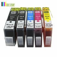 5 PK 564XL Ink w/PBK For HP 564XL For PhotoSmart 7510 7520 7525 309A C5300 C310