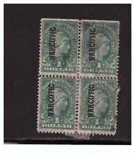 US  BLOCK OF 4 SC.RJA41 ONE DOLLAR NARCOTIC STAMP USED VERY RARE BLOCK PG25