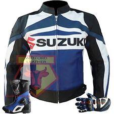GSX Suzuki Motorcycle Motorbike Biker Armoured Cowhide Leather Navy Blue Jacket XL