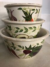 CERTIFIED INTERNATIONAL PATRICIA BRUBAKER 3 NESTING MIXING BOWLS VEGETABLES