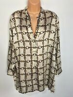 WOMENS ZARA LARGE WHITE MIX CHAIN PRINT PART BUTTONED SHIRT BLOUSE CASUAL TOP