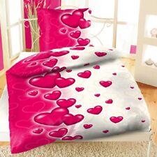 2tlg Microfaser Bettwäsche Set Herz Liebe Love Comic Pink Weiß 135x200 cm NEU