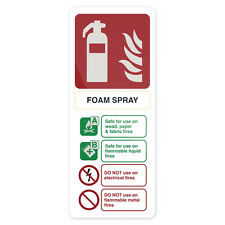 Foam Spray Extinguisher Sign 202 x 82mm Self-Adhesive  Signage Safety Signs