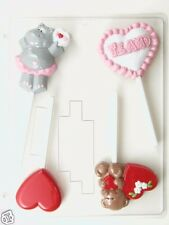 VALENTINE ASSORTMENT LOLLIPOP CLEAR PLASTIC CHOCOLATE CANDY MOLD V197