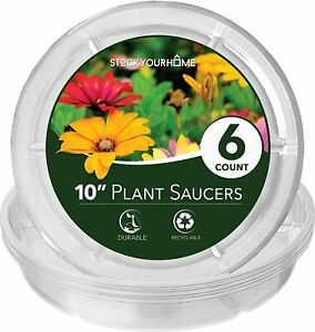 Stock Your Home 10 Inch Plastic Plant Saucers (6 Count)