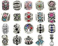 5pcs Silver /P Rhinestone Crystal Big Hole Beads For European Charm Bracelet E40
