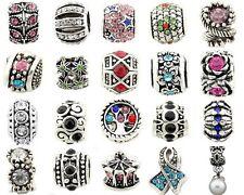 5pcs Silver /P Rhinestone Crystal Big Hole Beads For European Charm Bracelet E40