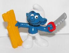 20112 Carpenter Smurf with Saw 2-inch Plastic Figurine Vintage Figure 1979 Peyo