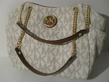 New Michael Kors Vanilla PVC Jet Set Travel Large Chain Shoulder Tote Bag