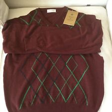 Golf Scott & Chambers 100% Cashmere V neck sweater UK Large red grouse new