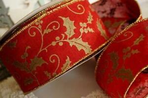 Red Burlap Linen and Vintage Gold Holly Christmas Wire Edged Wired Ribbon 2.5""