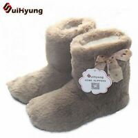 Hot Women Plush Winter Warm Home Slippers Comfortable Solid Flock Indoor Boots