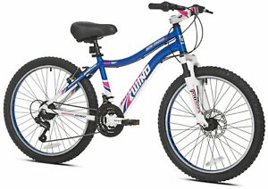 "Genesis Women Mountain Bike 24"" Wheels 21 Speeds Front Suspension Blue"