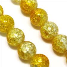 Lot de 20 perles craquelées en verre 10mm Bicolore Jaune cristal