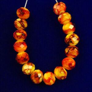 F90295 Faceted Orange Fire/Crystal Rondelle Pendant Bead 15Pcs/set 8x6mm