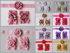 Baby Barefoot Sandals Girl Headband Set Daisy Flower Shoes Christening Photoprop