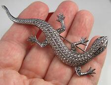 Estate Elegant Vintage Bright Marcasite Lizard Silver Tone 3.4 Inch Brooch Pin