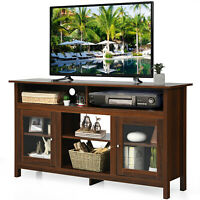 "Costway 58"" TV Stand Entertainment Console Center W/ 2 Cabinets Up to 65"" Walnut"