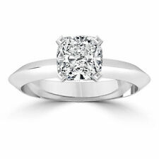 1 1/2 CT Solitaire Diamond Ring Engagement Cushion D/SI1 14K White Gold Enhanced