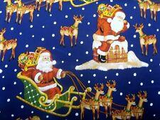 Fat Quarter Nostalgic Santa Sleigh Christmas Cotton Quilting Fabric