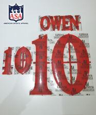 OWEN 10 England Home Euro 2000 Player Size Lextra Red Print Nameset