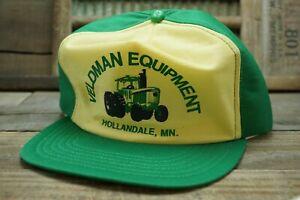 Vintage VELDMAN EQUIPMENT HOLLANDALE MN JOHN DEERE Snapback Trucker Cap Hat