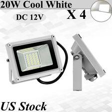 4X 20W Led Flood Lights Outdoor Lanscape Spotlights Fixtures Cool White DC 12V